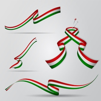 Bandera de hungría. conjunto de cintas húngaras. ilustración vectorial.