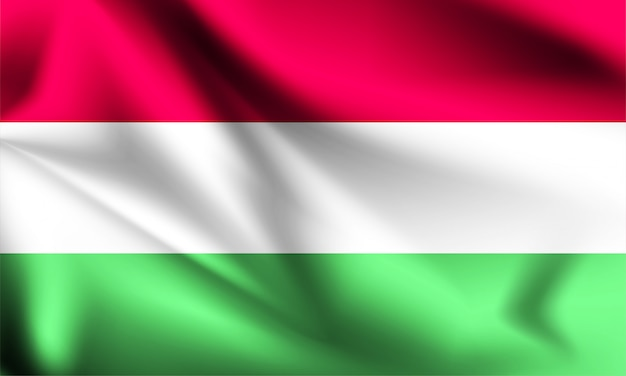 Bandera de hungría ondeando con el viento, ilustración 3d