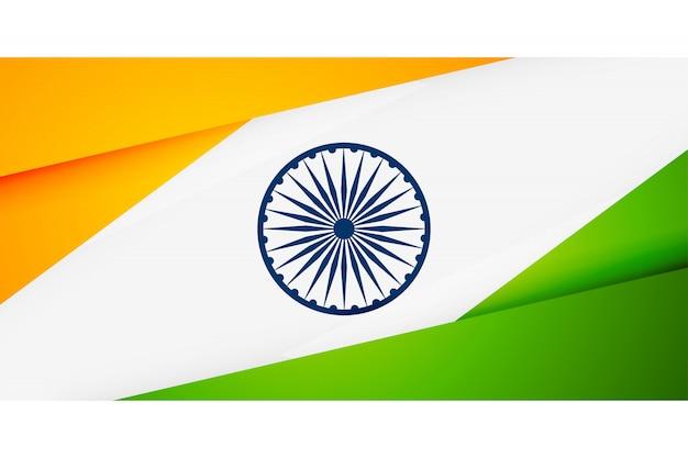 Bandera india en banner de estilo geométrico