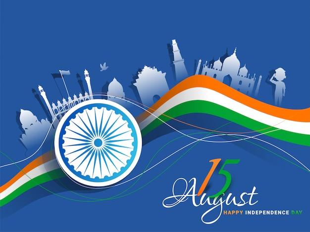 Bandera india de los monumentos indios del estilo del recorte del libro blanco