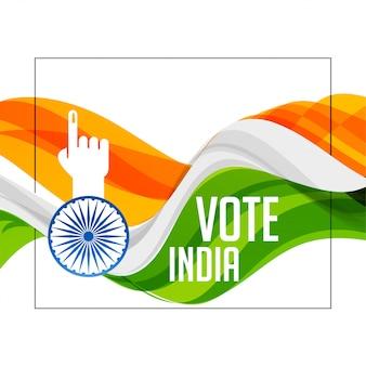 Bandera india tricolor con mano de voto