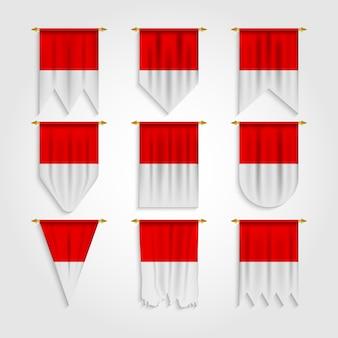 Bandera de indonesia en diferentes formas, bandera de indonesia en varias formas