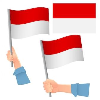 Bandera de indonesia en mano