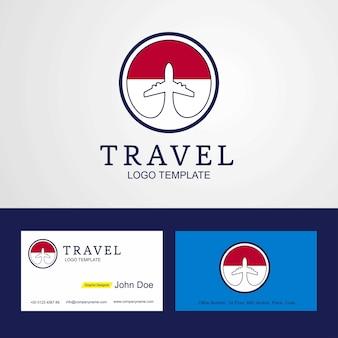Bandera de indonesia de viaje, logotipo y tarjeta de visita.