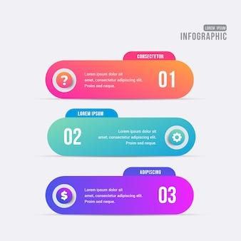Bandera de infografía pasos coloridos