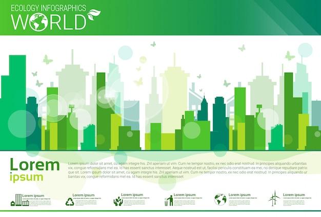 Bandera de infografías de ecología ecológica de protección ambiental mundial con espacio de copia