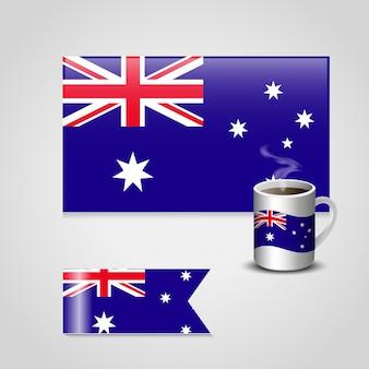 Bandera de inglaterra en diverso diseño y una taza