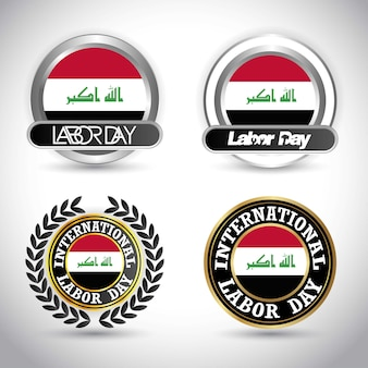 Bandera de iraq con vector de diseño de día de trabajo