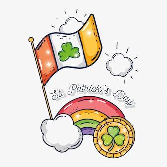 Bandera de irlanda con trébol y moneda al evento de san patricio.