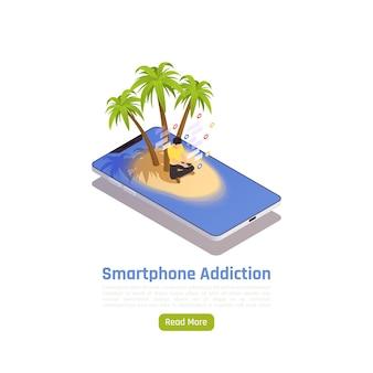 Bandera isométrica de adicción a la red social con la imagen conceptual de la isla de teléfonos inteligentes con el botón de las palmas y la ilustración de texto,