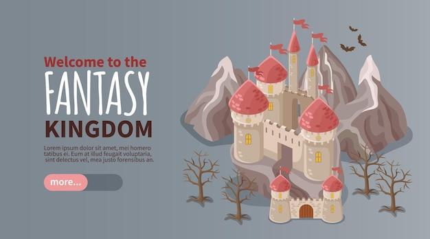 Bandera isométrica del reino de fantasía con castillo antiguo
