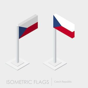 Bandera isométrica de la república checa