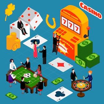 Bandera isométrica de símbolos de suerte de interior de casino