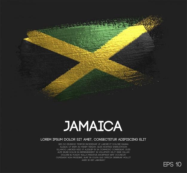 Bandera de jamaica hecha de pintura brillante sparkle brush