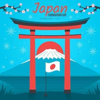 Bandera de japón del día de la fundación plana