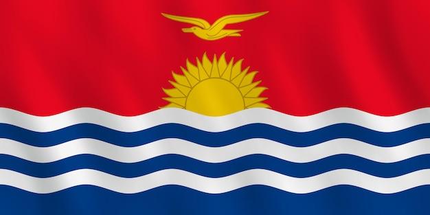 Bandera de kiribati con efecto ondulado, proporción oficial.