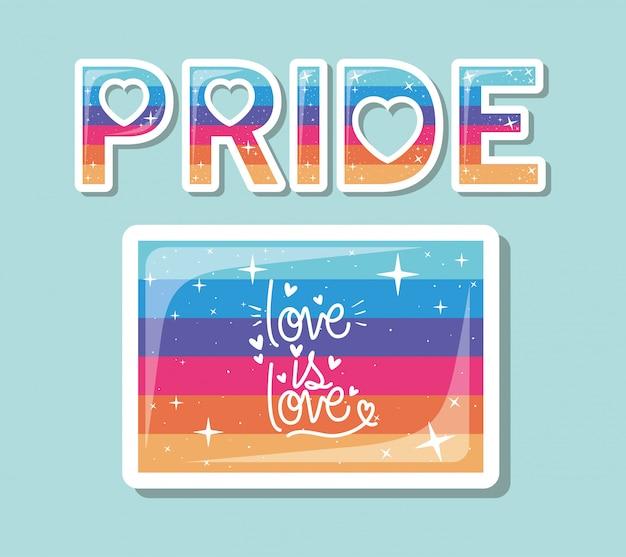 Bandera lgbt con amor es diseño de texto de amor