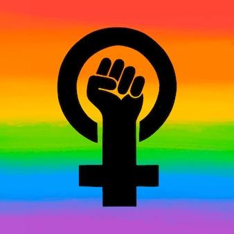 Bandera lgbt feminista acuarela