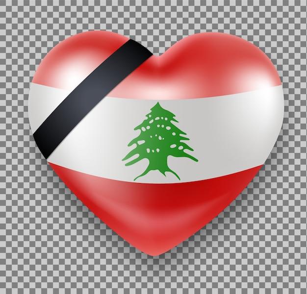 Bandera del líbano en forma de corazón con una cinta de luto. luto nacional. tragedia, explosión en beirut.