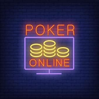 Bandera en línea del póker en el estilo de neón en fondo del ladrillo.