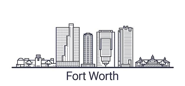 Bandera lineal de la ciudad de fort worth dibujada a mano
