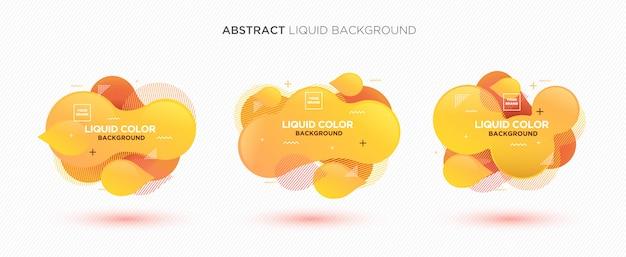 Bandera líquida abstracta moderna del vector fijada en colores amarillos.
