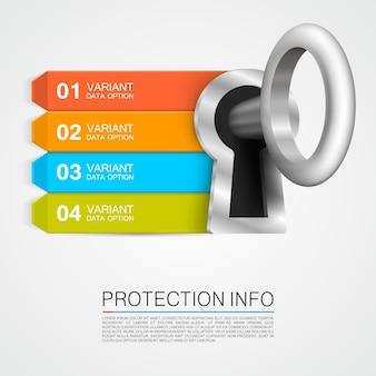 Bandera de la llave del arte de la información de protección. ilustración vectorial