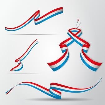 Bandera de luxemburgo. juego de cintas de luxemburgo. ilustración vectorial.