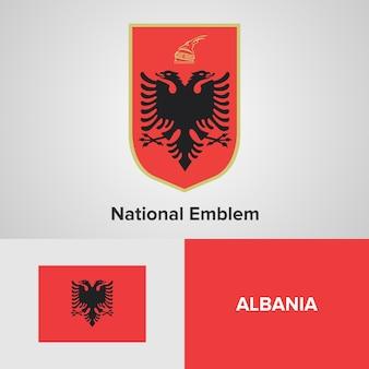 Bandera del mapa de albania y emblema nacional