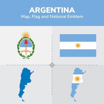 Bandera del mapa de argentina y emblema nacional