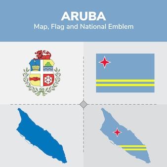Bandera de mapa de aruba y emblema nacional