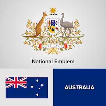 Bandera de mapa de australia y emblema nacional