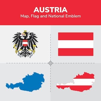 Bandera del mapa de austria y emblema nacional
