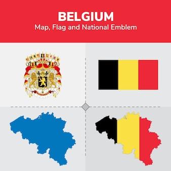 Bandera de mapa de bélgica y emblema nacional