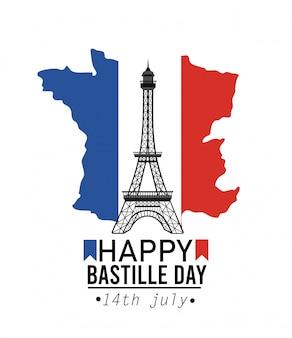 Bandera de mapa de francia con la torre eiffel