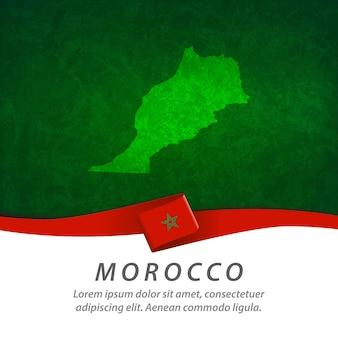 Bandera de marruecos con mapa central
