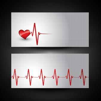 Bandera médica con la ilustración de latido de corazón