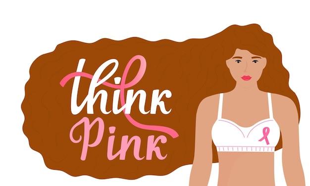 Bandera del mes nacional de concientización sobre el cáncer de mama. piense en letras dibujadas a mano rosa. una chica con el pelo largo de color rojo en un sujetador con una cinta rosa.