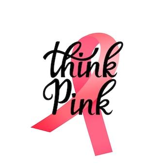 Bandera del mes nacional de concientización sobre el cáncer de mama. piense letras dibujadas a mano rosa con cinta.