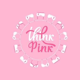 Bandera del mes nacional de concientización sobre el cáncer de mama. sujetadores rosas colgando de una cuerda. piense en letras dibujadas a mano rosa.