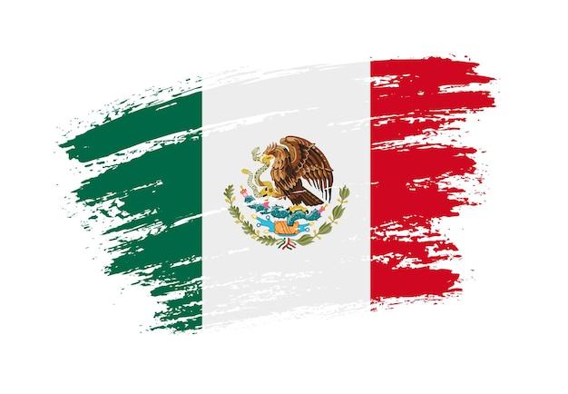 Bandera mexicana de trazo de pincel grunge