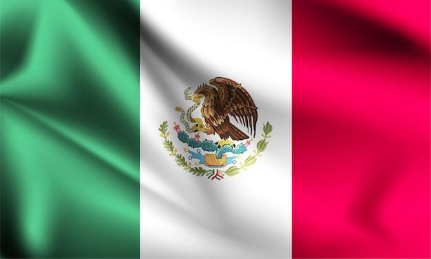 Bandera de méxico ondeando al viento. parte de una serie. bandera de méxico