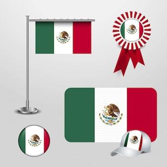 Bandera de méxico con vector de diseño creativo