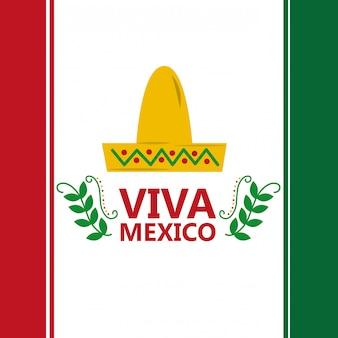 Bandera de mexico viva sombrero traje tradicional imagen