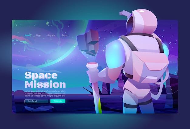 Bandera de misiones espaciales con astronauta en traje y casco en un planeta alienígena en la galaxia lejana