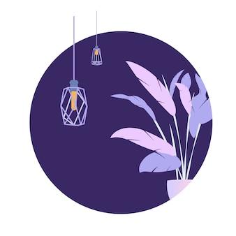 Bandera moderna de la lámpara del desván de la planta del círculo