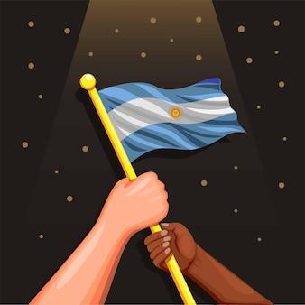 Bandera nacional argentina en símbolo de mano para la celebración del día de la independencia el 9 de julio concepto en dibujos animados il