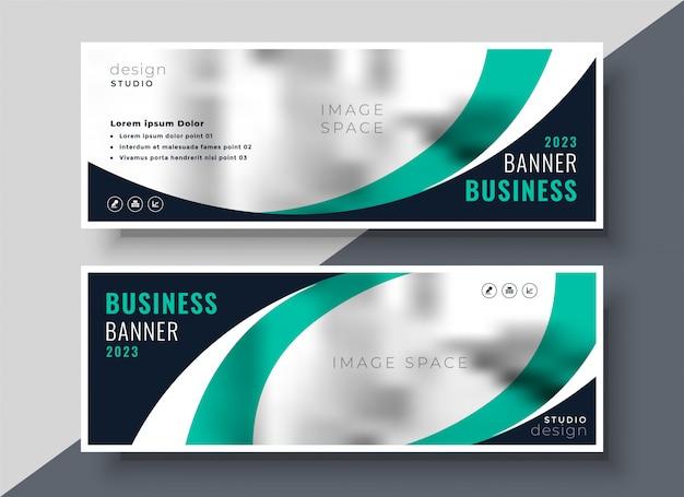 Bandera de negocios ondulada turquesa con estilo