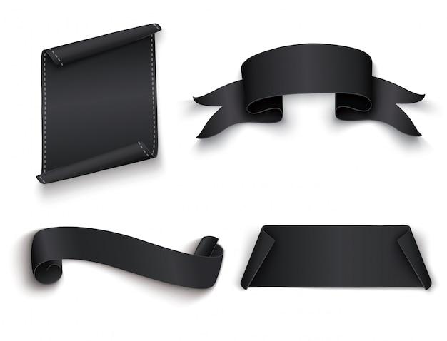 Bandera negra realista papel curvado. cinta. ilustración.