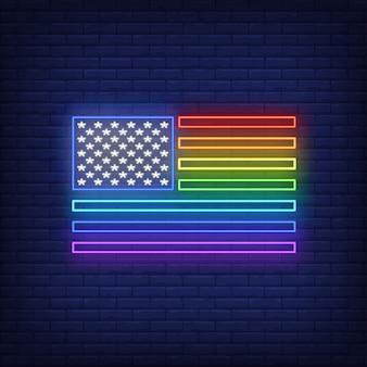 Bandera de neón del arco iris